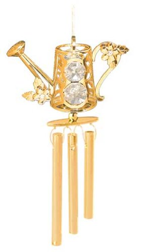 (24K Gold Plated Wind Chime Sun Catcher or Ornament..... Watering Can With Clear Swarovski Austrian Crystal)
