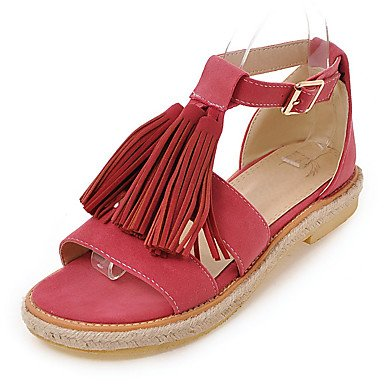 LvYuan Tacón Plano-Confort Gladiador Suelas con luz-Sandalias-Exterior Vestido Informal-Semicuero-Negro Marrón Rosa Beige Pink