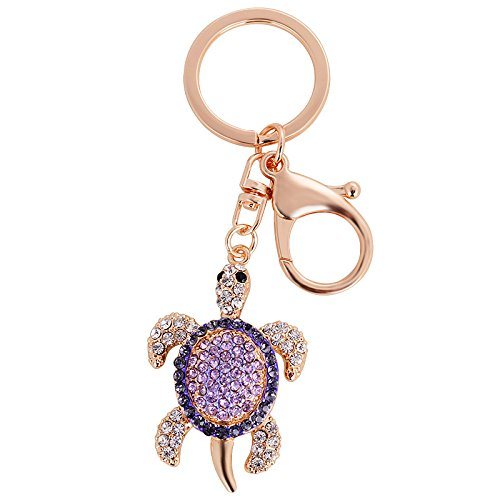 Reizteko Cute Sea Turtle Crystal Rhinestone Keychain Key Chain Sparkling Key Ring Charm Purse Pendant Handbag Bag Decoration Holiday Gift (Purple)