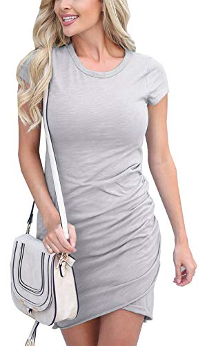 BTFBM Women's 2019 Casual Crew Neck Ruched Stretchy Bodycon T Shirt Short Mini Dress (104Grey, Medium)