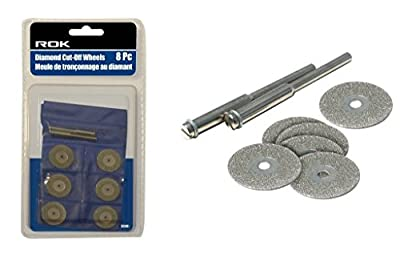 ROK 48340 Diamond Cutting Wheel Discs for Rotary Tools - 8pc Set