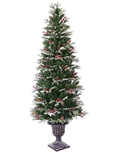 ABUSA Pre-lit Potted Pencil Christmas Tree 6.5 ft Frosted Pine Cones Red Berries Snow 200 LED Lights 428 Branch Tips Realistic Slim Xmas Tree