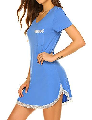 Ekouaer Womens Sexy Lace Trim Soft Sleepshirt Short Slleve V Neck Nightgown Blue XXL ()