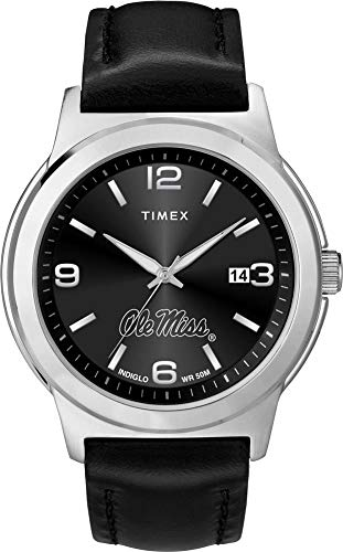 Timex Men's Ole Miss Rebels Watch Black Leather Band Ace