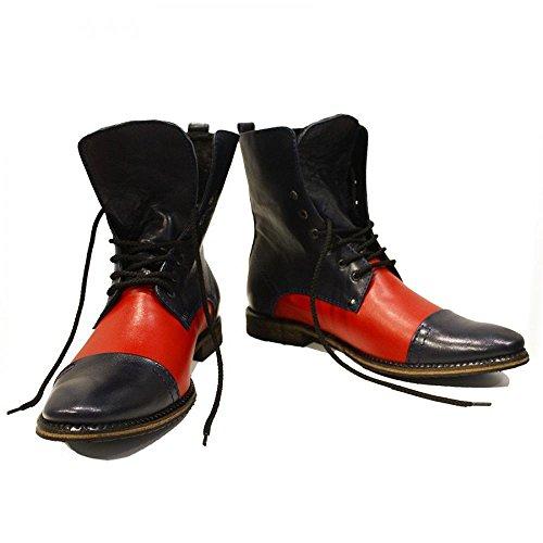 PeppeShoes Modello Stiletto - Handmade Italiano da Uomo in Pelle Rosso Stivali Alti - Vacchetta Pelle Morbido - Allacciare