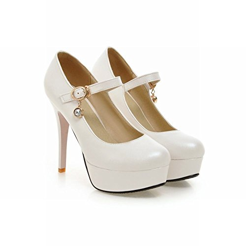 Carolbar Women's Elegant Charm High Heel Stiletto Buckle Platform Court Shoes White wAboqu