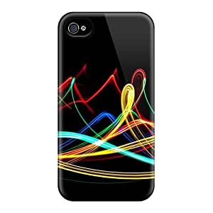 Ultra Slim Fit Hard Mialisabblake Case Cover Specially Made For Iphone 4/4s- Neon Waves