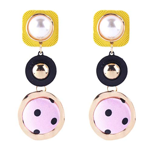 Yeefant 1 Pair Round Pendant Shaped Steel Stud Diamond Jewelry Earring for Girl,Yellow Pink Wave