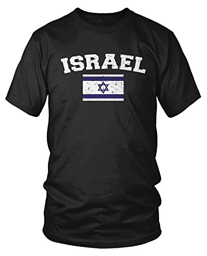 Amdesco Men's Flag of Israel, Love Support, Israeli Flag T-Shirt, Black 2XL