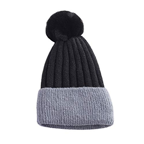TWGONE Womens Beret Hats Winter Keep Warm Crochet Ski Hat Braided Cap(One Size,Black) -