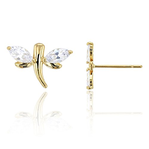 14K Yellow Gold Marquise Cut Dragonfly CZ Stud Earring