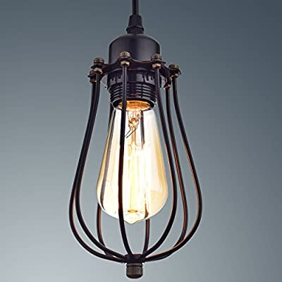 YOBO Lighting Industrial Edison Hanging Lamps Oil Rubbed Bronze Wire Caged 1-light Pendant Lights