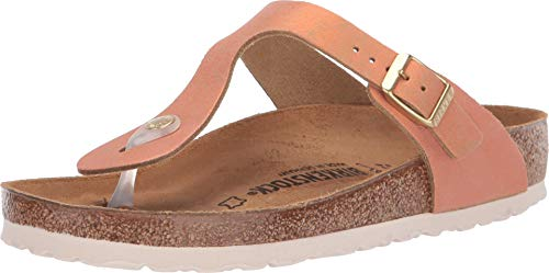 Birkenstock Women's Gizeh Limited Edition Leather Regular Fit Sandals, Washed Metallic Sea Copper, ()
