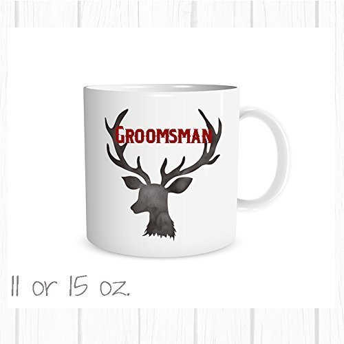 Personalized Groomsman Deer Antler Mug, Choose Color Add a Name, Wedding Party Favor, Usher Gift (Favors Cocoa Hot Wedding)