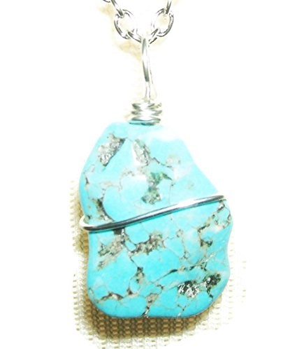 Slab Turquoise Necklace - Stone Necklace TURQUOISE BLUE Metaphysical CALM EMOTIONS DREAM RETENTION Silver Pltd