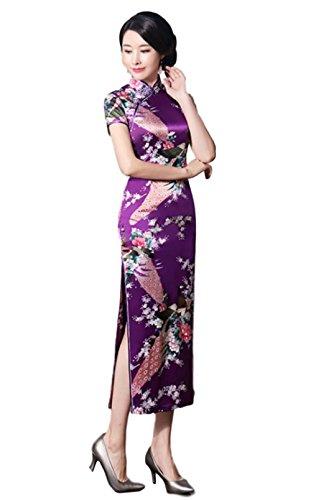 hideaway Women's Longi Chinese Dress Cheongsam [White/Purple/Black/Red] Mandarin Gown Qipao China Dress (Small, Purple)