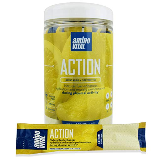 amino VITAL Action - Vegan BCAA Powder with Electrolytes, Glutamine and Arginine, Lemon Single Serve Packets, Keto Friendly Workout Drink Supplement for Hydration and Endurance