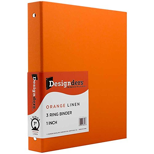 "JAM Paper Premium Linen Textured 3 Ring Binders- 1""- Orange - Sold Individually"