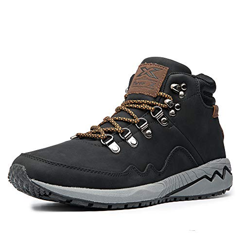 Men's Work Boots Hiking Shoes Leather Outdoor Shoes (12, Black)