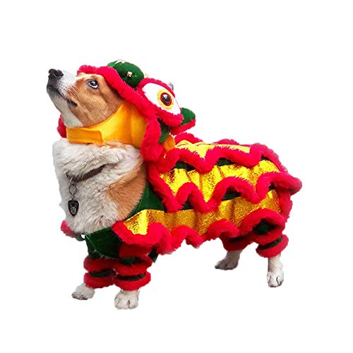Wellucky Hand Made Dog Costume Lion Dance Dragon Clothes, Small Pet Tang Suit Chinese New Year Cat Costume Jacket (S: Chest Width=11.8