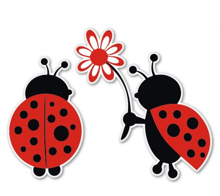 Ladybug Love Cute Vinyl Sticker - Car Phone Helmet - SELECT SIZE ()
