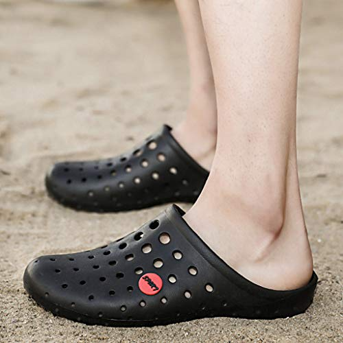 Creazrise Mens Comfortable Walking Garden Sea Shoes Slippers Quick Drying Breathable Hole Sandals Black by Creazrise Mens (Image #4)