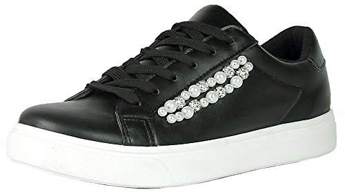 Refresh Footwear Women's Round Toe Faux Pearl Crystal Lace-Up Flatform Sneaker (9 B(M) US, Black) 90s Black Platform