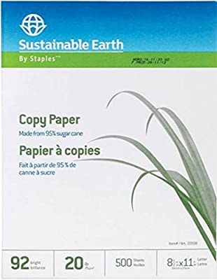 Staples Sustainable Earth Sugarcane Based Multipurpose Copy Fax Inkjet Laser Printer Paper, Recycled Alternative, 8 1/2 x 11 inch Letter Size, 20 lb. Density, 92 Bright White, Acid Free, Ream, 500 Total Sheets (398457)