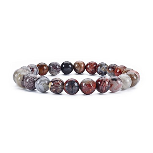 - Cherry Tree Collection Natural Semi-Precious Gemstone Beaded Stretch Bracelet 8mm Round Beads 7