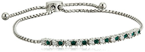Sterling Silver Green and White Bolo Bracelet Made with Swarovski Crystal and Swarovski Zirconia (1/3 cttw, 9