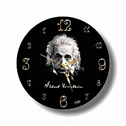 dudkaair Albert Einstein 11.4'' Handmade Reverse Wall Clock - Get Unique décor for Home or Office - Best Gift Ideas for Kids, Friends, Parents and Your Soul Mates