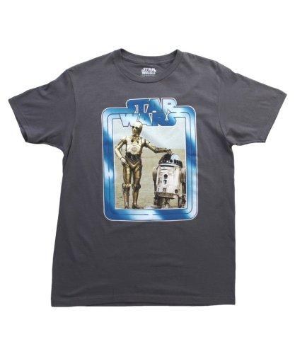 Mighty Fine Star Wars R2 & C3PO Border Mens Premium Heather L