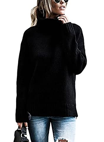 Dearlovers Womens Turtleneck Casual Side Split Knitted Pullover Sweater Tops Large Size Black - Split Turtleneck Sweater