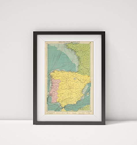 (1922 Map of Portugal|Spain, Portugal, W. France|Title: Ports of Spain, Portugal and Western France.)