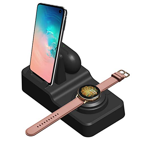 EloBeth 3 in 1 Stand Holder Compatible with Charger for Samsung Galaxy Note10/10 Plus/9/8,S10,Galaxy Watch 42mm/46mm,Active 2/1,Galaxy Buds/Gear S3/S2/Sport (Not Charger,Need Original Charger Cable) from EloBeth