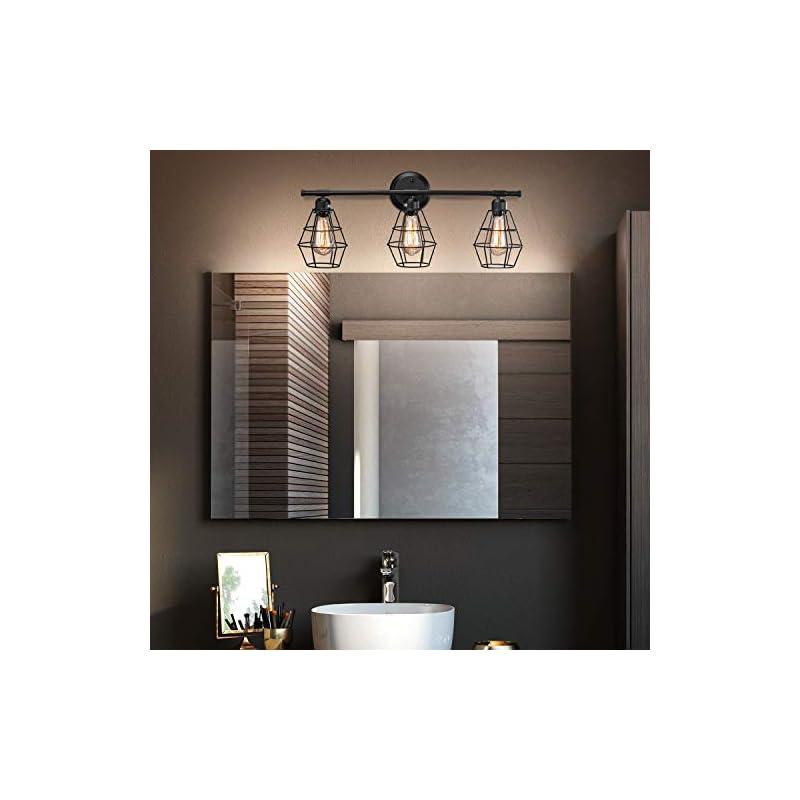 Industrial Bathroom Vanity Light 3 Lights, Elibbren Vintage Matte Black Wall Sconce with Caged, E26 Base Farmhouse…