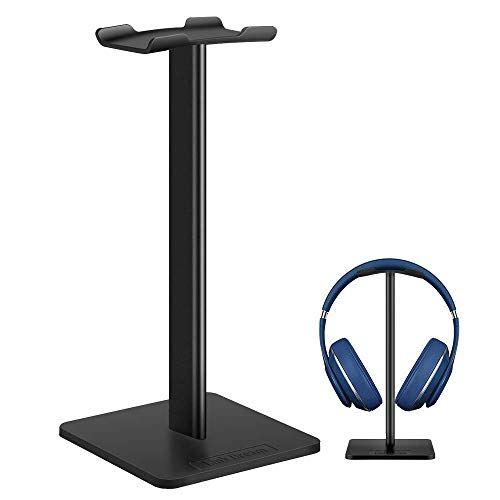 Headphone Stand Headset Holder- Gaming Headset Holder with Aluminum Supporting Bar Flexible Headrest Anti-Slip Earphone Stand for All Headphones, Black