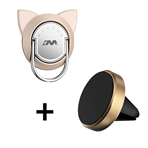 Cat Phone Finger Ring with Magnetic Car Mount, Magnetic Phone Ring Car Mount, Magnetic Ring Holder for Cell Phone and Tablet (1 Set,Gold)