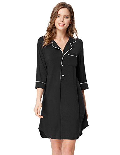 Zexxxy Women Solid Stretchy Nightgown Top Knee Length Boyfirend Style Black (Sleeve Knee Length Nightgown)