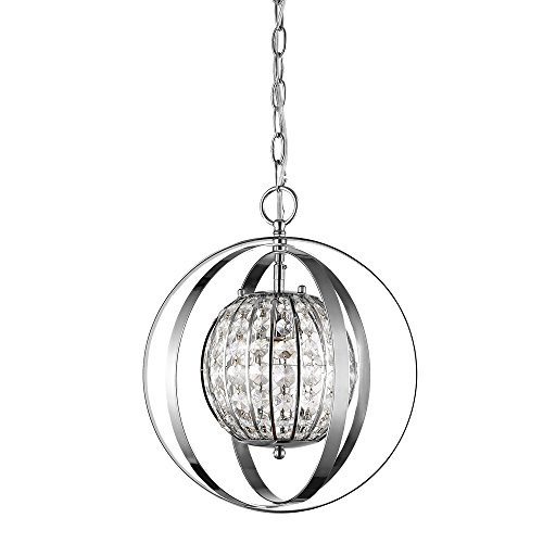 Acclaim Lighting IN11097PN Olivia Indoor 1-Light Pendant with Crystal, Polished Nickel