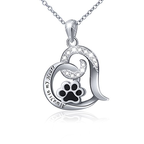 Sterling Silver Puppy Paw Print Love Heart Pendant Necklace, Rolo Chain 18