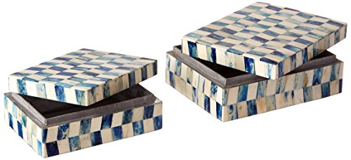 IMAX 19954-2 Essentials Bone Boxes, Marine Blue, Set of 2