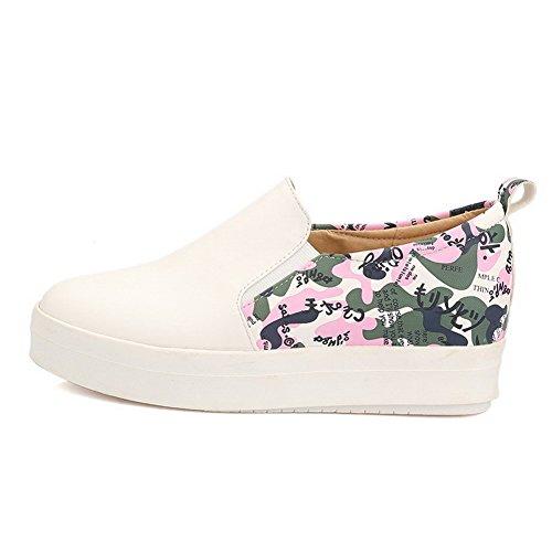 VogueZone009 Damen Weiches Material Rund Zehe Niedriger Absatz Ziehen auf Pumps Schuhe Weiß