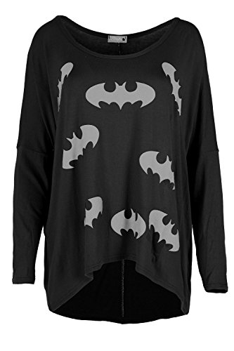 Batman Ladies T-shirt (Women Ladies Batman T Shirt Long Sleeve High Low Baggy Oversize Casual Top Plus Size (US 12/14) Black)
