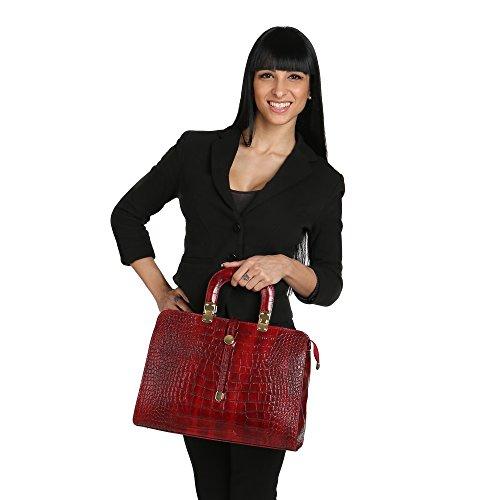 en avec Rouge véritable femme 37x26x14 en Modèle Borse épaule main Italie Chicca Cm cuir Sac à Fabriqué Python XRT0q
