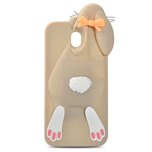 Samsung Galaxy J3 Pro 2017 Conejo Funda, Vandot Fashion 3D Lovely Cartoon Buck Teeth Bunny Rabbit Rubber Series Soft Silicone Back Case Cover para Samsung Galaxy J3 Pro (2017) J330 Case, Protección Si Rabbit Gris