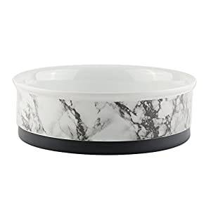 """Bone Dry DII Ceramic Round Pet Bowl For Food & Water With Non-Skid Silicone Rim for Dogs and Cats (Small 4.25"""" Dia x 2"""" H) Set of 2 - White Marble"""
