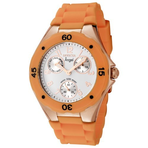 invicta-womens-0712-angel-collection-multi-function-rose-gold-plated-orange-polyurethane-watch