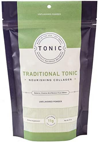 TONIC: Traditional Collagen Peptides & Gut Health Supplement Bone Broth Alternative, Paleo + Keto Friendly, Pasture Raised, Gluten Free, Unflavored, 20 Servings