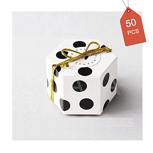 GAKA Black Polka Dot Candy Box with White Ribbon and Round Card, Hexagon Black Dots Style Design for Wedding Candy Box,Baby Shower Box,DIY Chocolate Cookies Case,Birthday Party Supplies Pack of 50